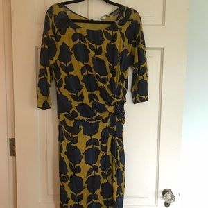 Boden Dresses - Boden 12R Mustard and Blue Cocktail Dress Chic